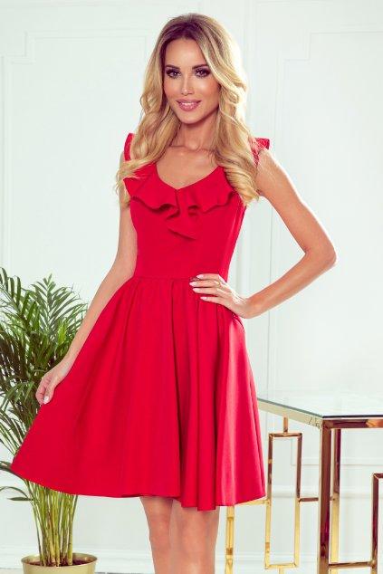 Červené krátke šaty s volánikmi a áčkovou sukňou