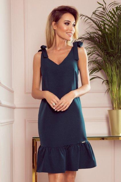 Zelené krátke šaty s volánovou sukňou
