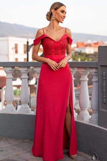 Červené spoločenské šaty s krajkou spustené na ramená