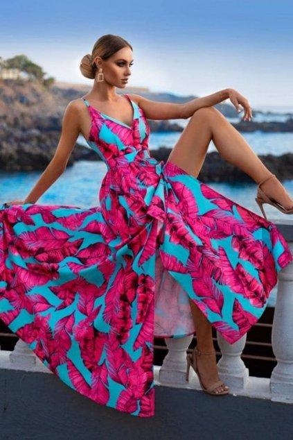 Farebné kvetinové šaty s rozparkami