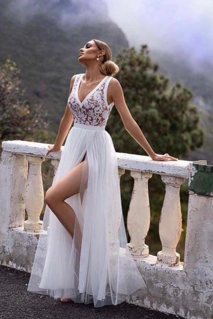 Bielo-telové spoločenské šaty s krajkou
