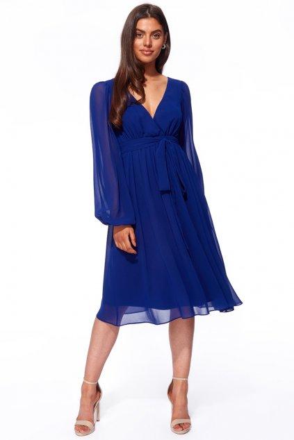 Modré šifónové midi šaty s dlhými rukávmi