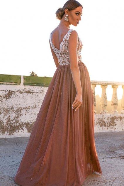 Hnedé spoločenské šaty s tylovou sukňou a rozparkom