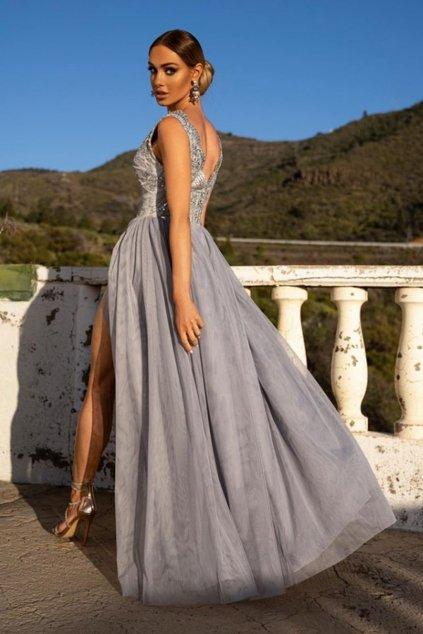Sivé spoločenské šaty s tylovou sukňou a rozparkom