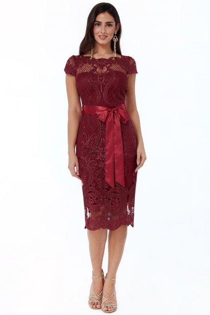 Bordové krajkované midi šaty