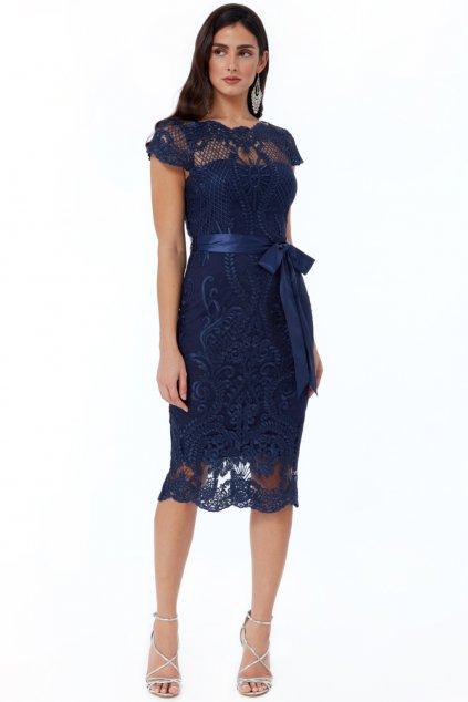 Tmavomodré krajkované midi šaty