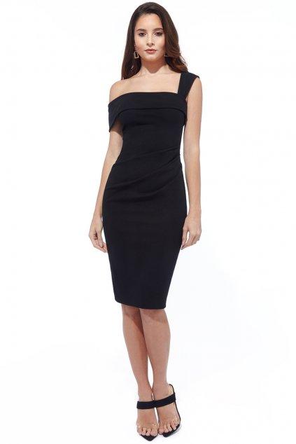 Čierne priliehavé midi šaty