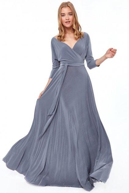 Sivé spoločenské šaty s dlhými rukávmi