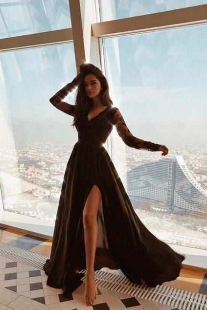 Čierne spoločenské šaty s krajkou a saténovou sukňou