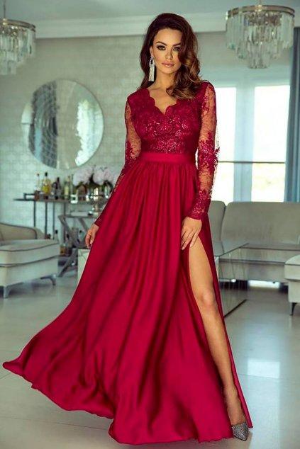 Malinové spoločenské šaty s krajkou a saténovou sukňou