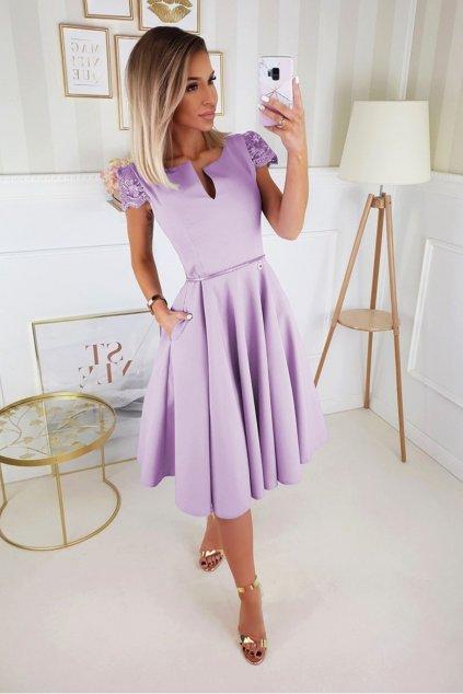 Svetlofialové spoločenské midi šaty