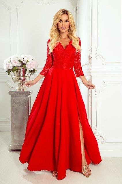 Červené spoločenské šaty s čipkou