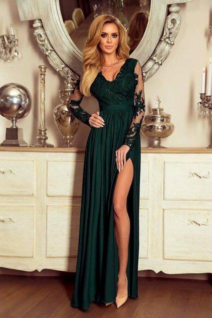 Smaragdové spoločenské šaty s krajkou a saténovou sukňou