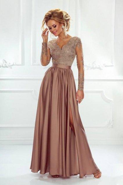 Medené spoločenské šaty s krajkou a saténovou sukňou