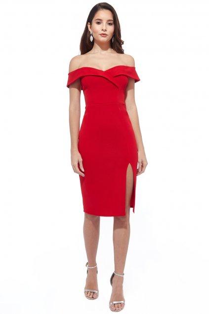 Červené priliehavé šaty spustené na ramená