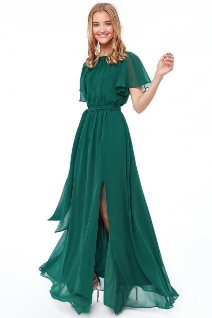 Zelené šifónové šaty s výstrihom na chrbte