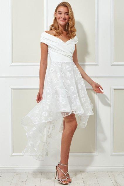 Smotanové šaty s tylovou asymetrickou sukňou