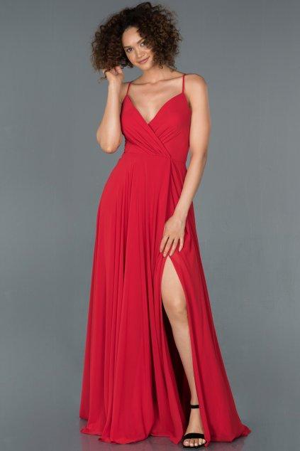 Červené spoločenské šaty s viazaním na chrbte