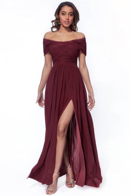 Bordové spoločenské šaty s riasením