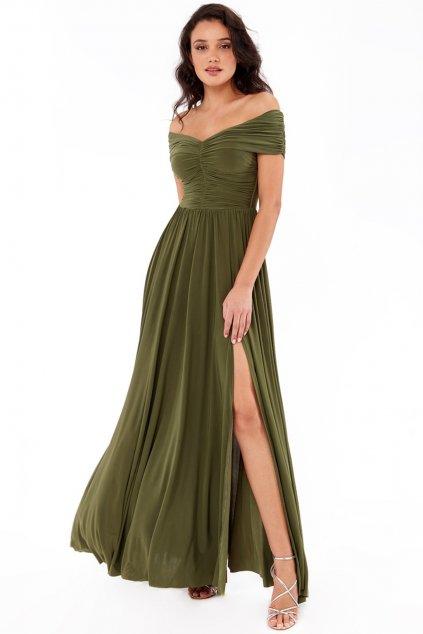 Olivové spoločenské šaty s riasením