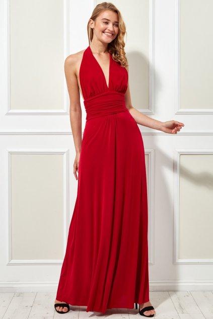 Červené spoločenské šaty s viazaním okolo krku
