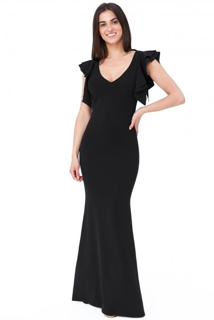 Čierne priliehavé šaty s volánikmi a odhaleným chrbtom