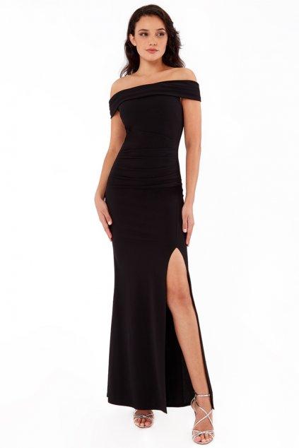Čierne priliehavé šaty spustené na ramená