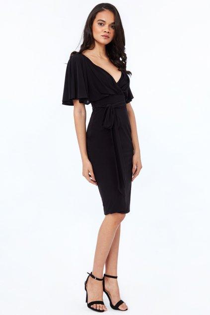 Čierne midi šaty s voľnými rukávmi