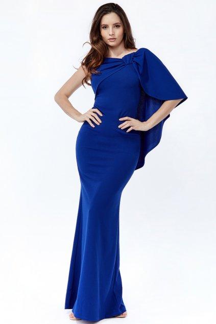Modré priliehavé šaty so zahaleným ramenom