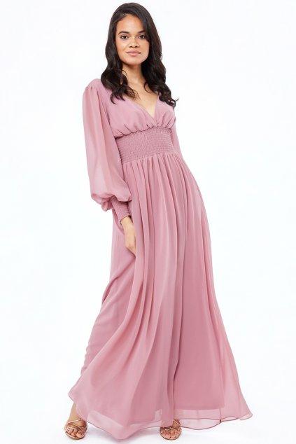 Staroružové šifónové šaty s dlhými rukávmi