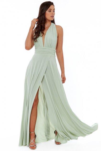 Svetlozelené spoločenské šaty s viazaním okolo krku
