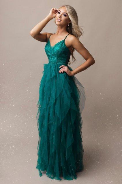 Azurové tylové šaty s flitrami