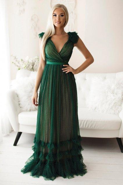 Zelené tylové šaty s nariasenou sukňou