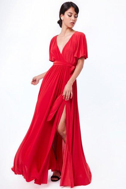 Červené dlhé spoločenské šaty s voľnými rukávmi