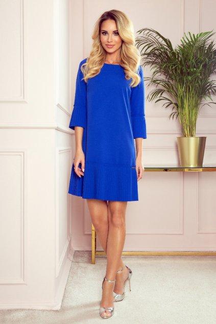 Modré krátke šaty so skladanou sukňou a rukávmi