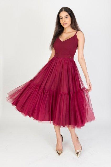Bordové midi šaty s tylovou sukňou