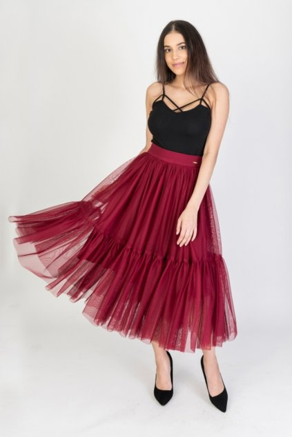 Bordová tylová midi sukňa
