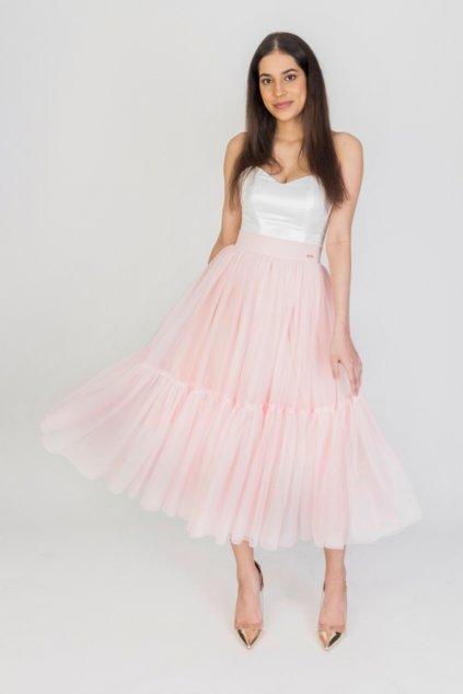 Svetloružová tylová midi sukňa
