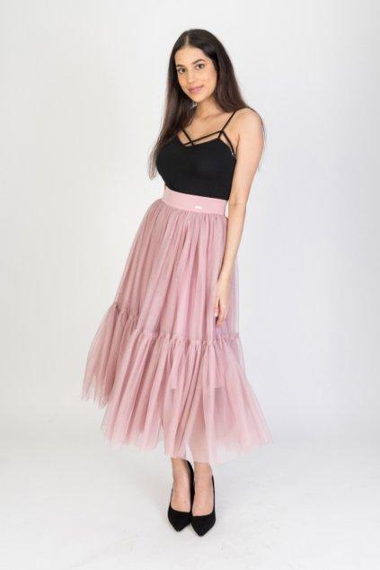 Staroružová tylová midi sukňa