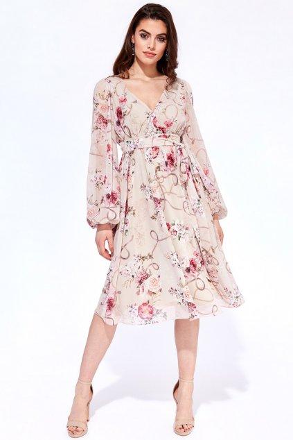 Krémové kvetinové midi šaty s dlhými rukávmi
