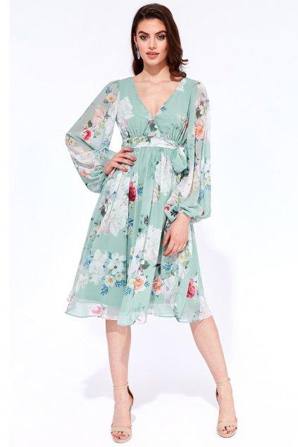 Mentolové kvetinové midi šaty s dlhými rukávmi