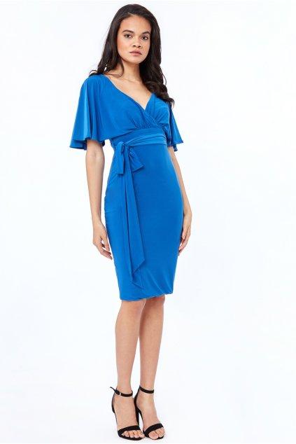 Modré midi šaty s voľnými rukávmi