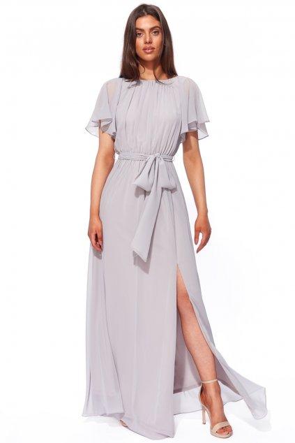 Sivé šifónové šaty s výstrihom na chrbte