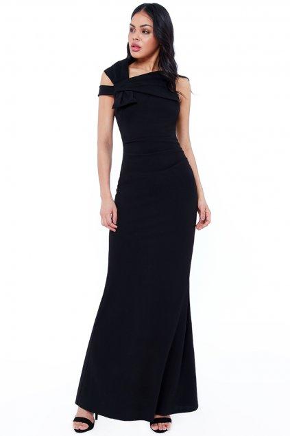 Čierne priliehavé šaty s mašľou