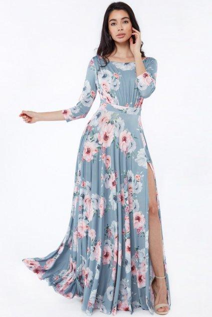 Sivé kvetinové šaty s rukávmi