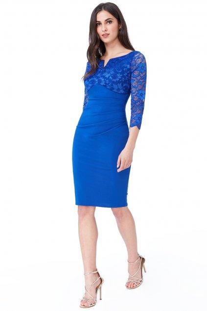 Modré priliehavé midi šaty s čipkou