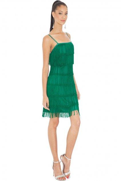 Smaragdové mini šaty so strapcami