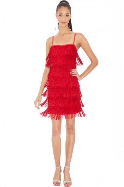 Červené mini šaty so strapcami