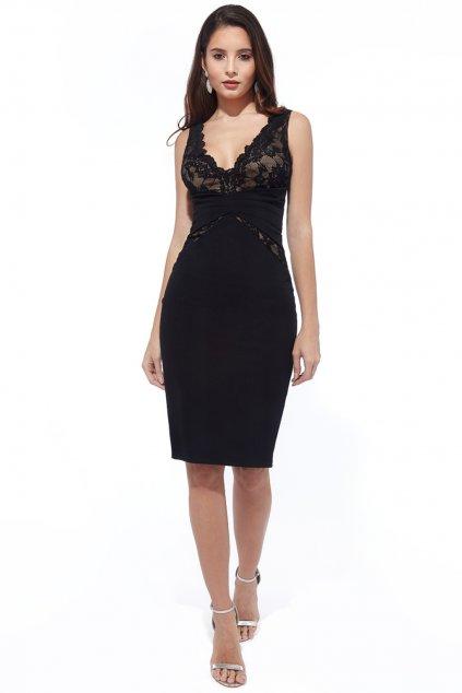 Čierne priliehavé midi šaty s čipkou