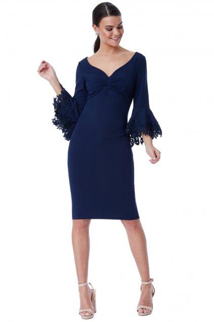 Tmavomodré midi šaty s krajkovanými rukávmi